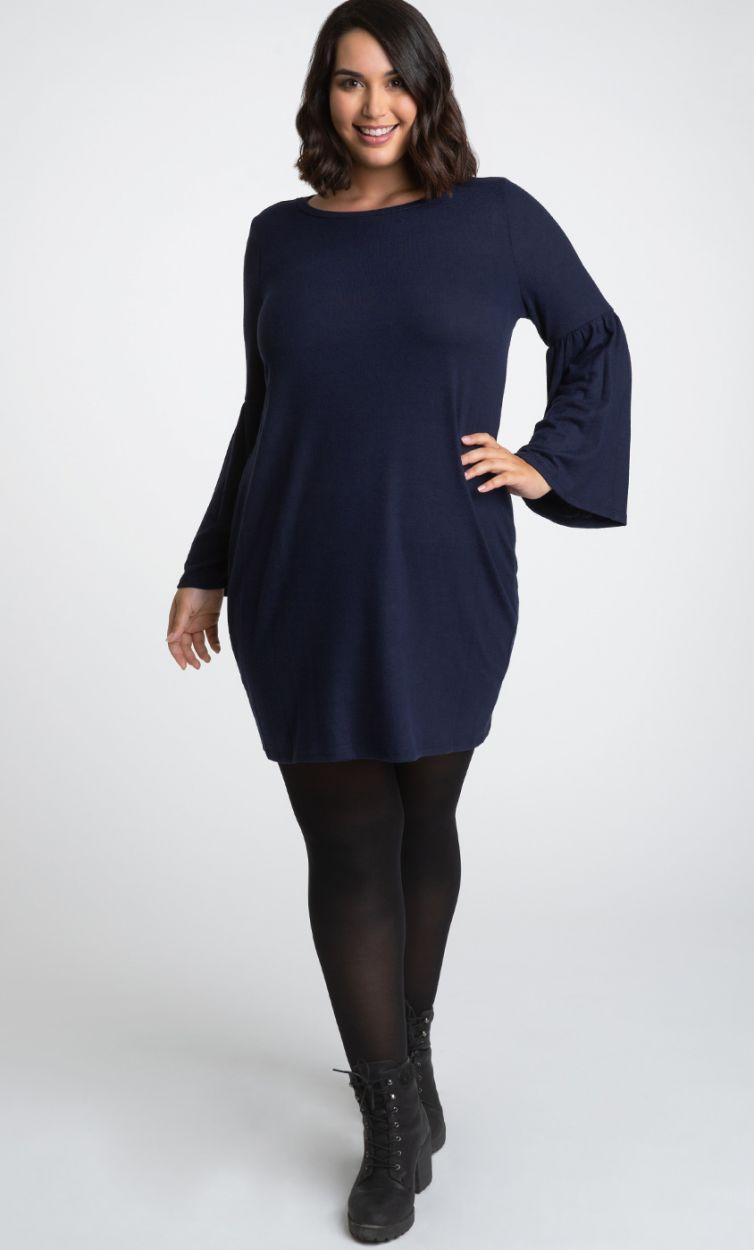 Kiyonna Womens Plus Size Flare Sleeve Sweater Dress-Sale!
