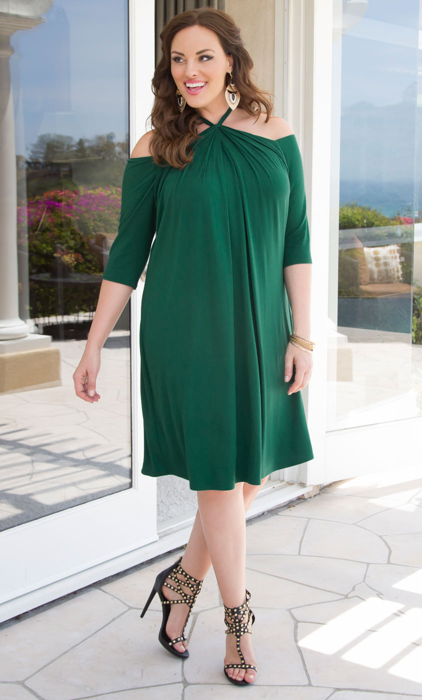 Plus Size Swing Dress for Sale | Black Halter Swing Dress