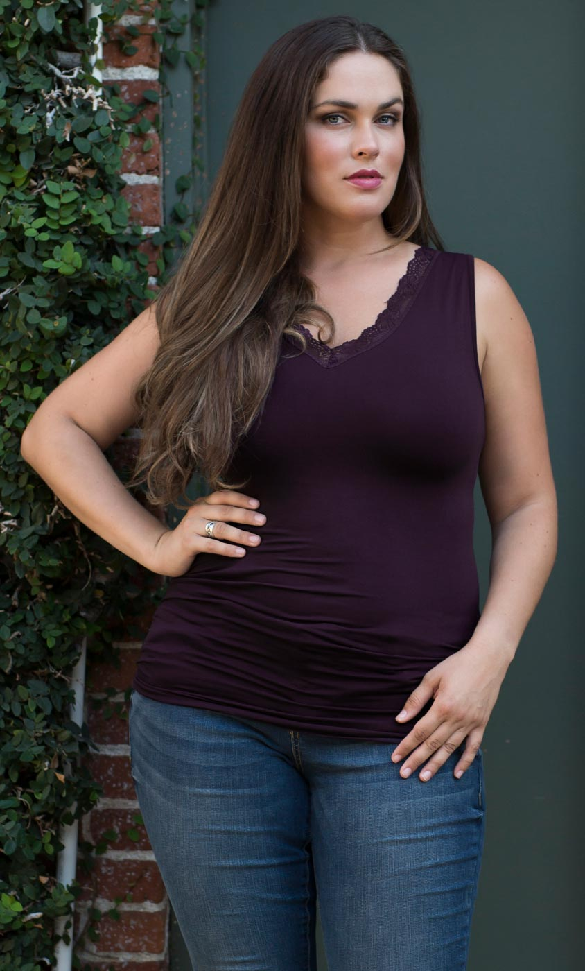 dc986051a04 ... Real Curves for Plus Size Lace Trim Tank by Skinnytees ...