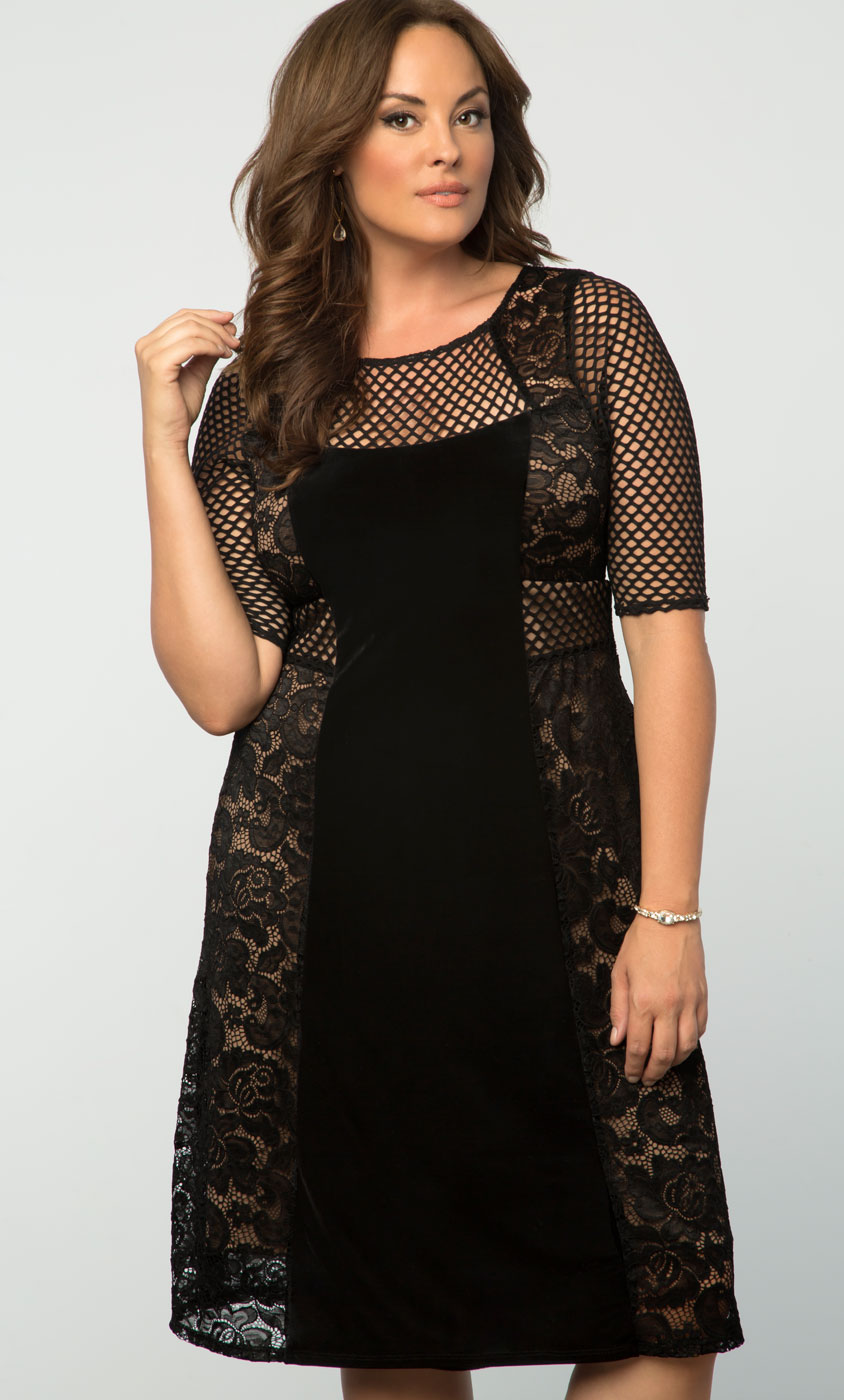 Plus size Velvet Dress | Mixed Lace Cocktail Dress