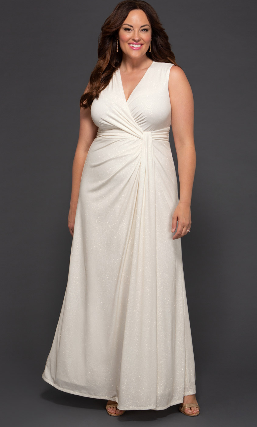 Gilded by Moonlight Wedding Gown Gold Sparkle (Women's Plus Size)