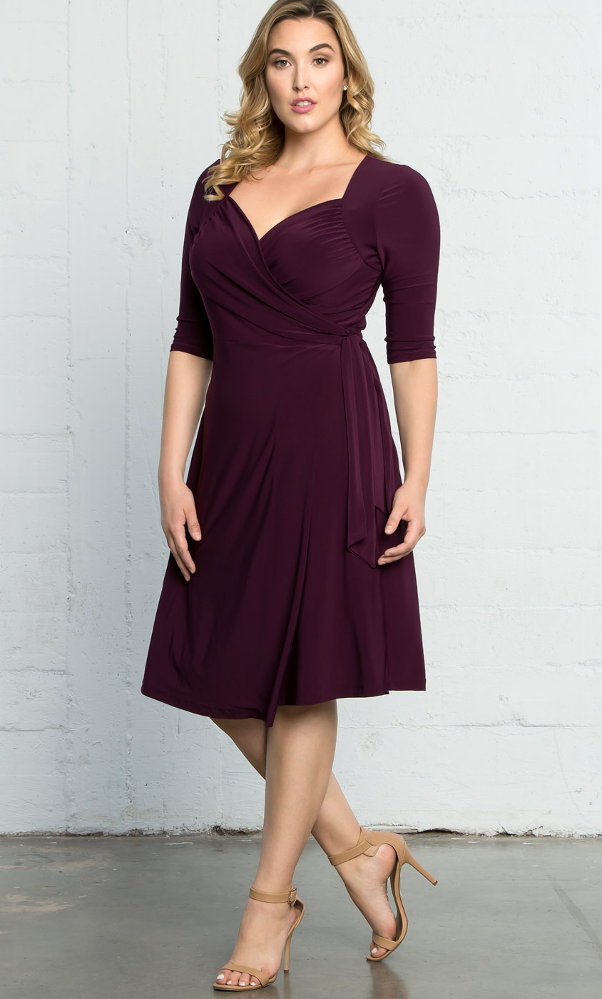 Plus Size Knit Wrap Dress Sweetheart Neckline Cocktail Dress