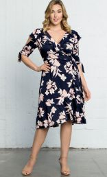 Kiyonna fashions,Winnie Wrap Dress, Navy/Blush Print (Women's Plus Size)