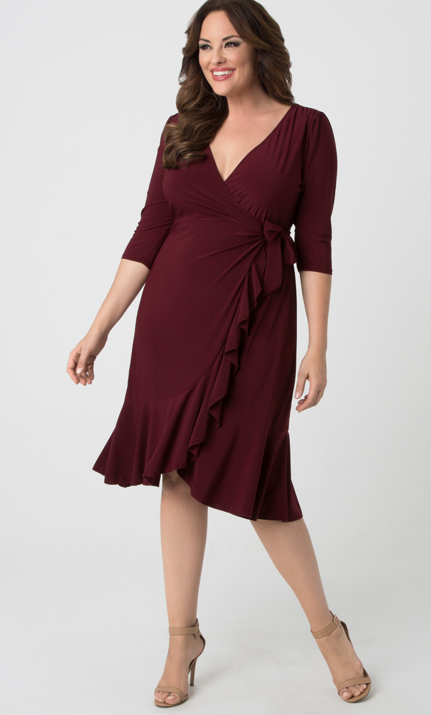 whimsy wrap dress | plus size midi wrap dress