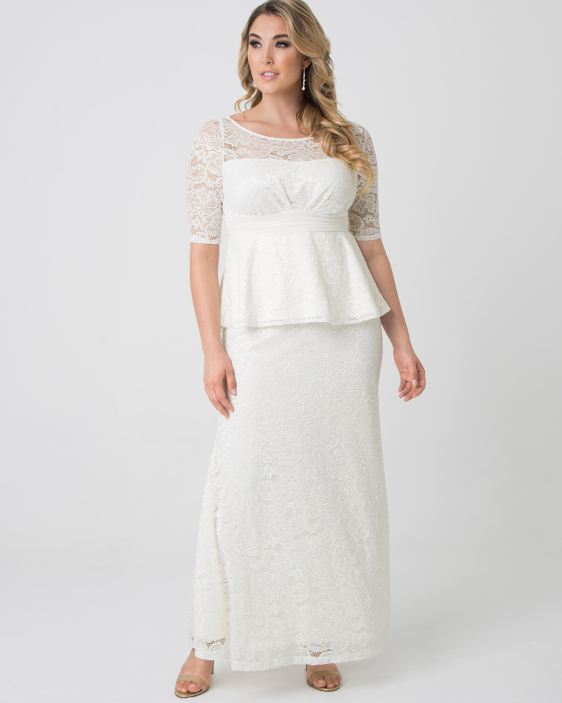 1940s Style Wedding Dresses | Classic Wedding Dresses Kiyonna Womens Plus Size Poised Peplum Wedding Gown $248.00 AT vintagedancer.com