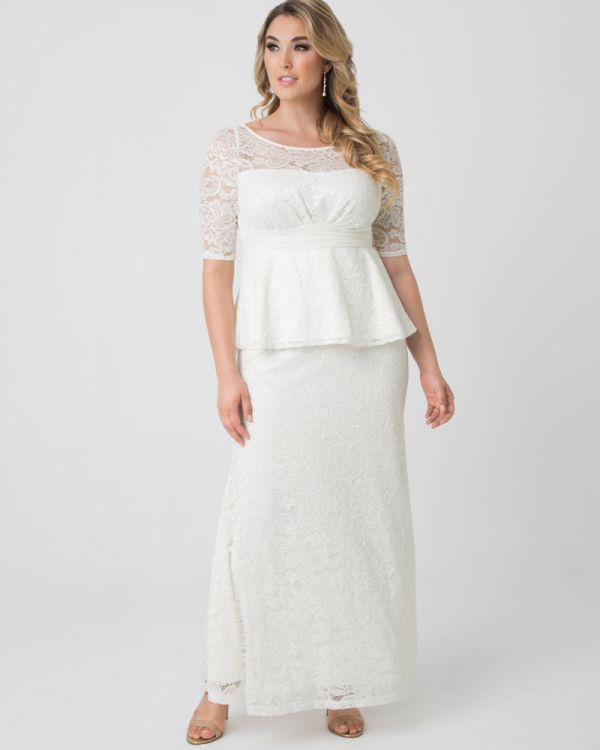 Poised Peplum Wedding Gown