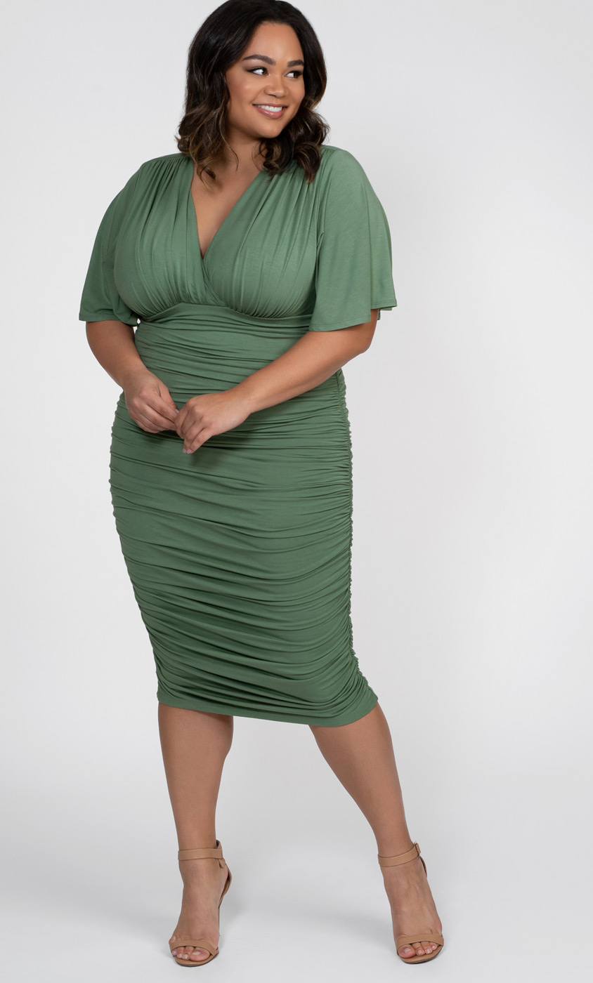 Kiyonna Womens Plus Size Rumor Ruched Dress Black Noir