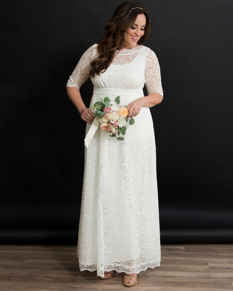 1940s Style Wedding Dresses | Classic Wedding Dresses Kiyonna Womens Plus Size Sweet Serenity Wedding Gown $288.00 AT vintagedancer.com