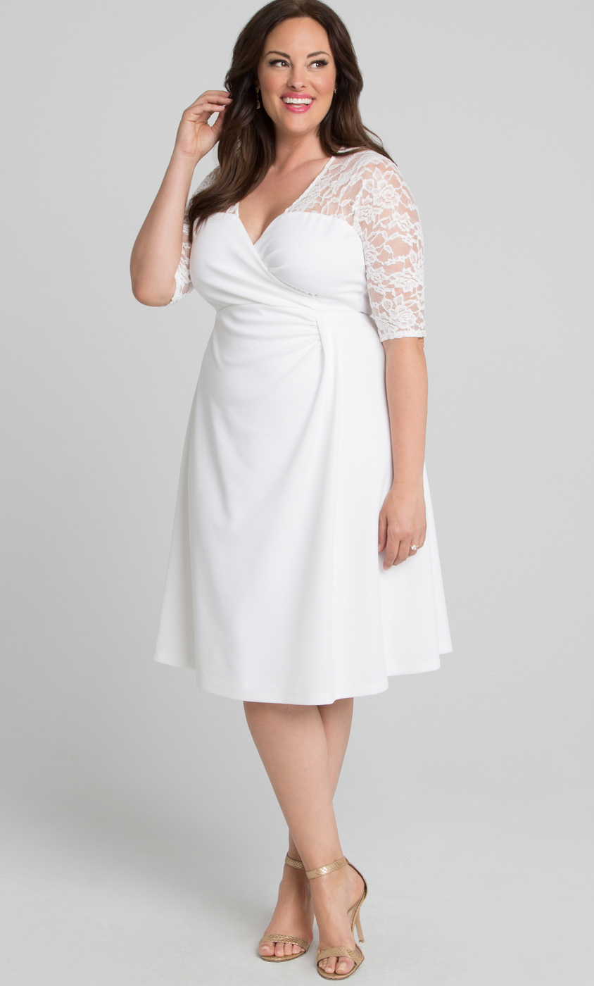Plus Size White Lace Cocktail Dress | Kiyonna Clothing