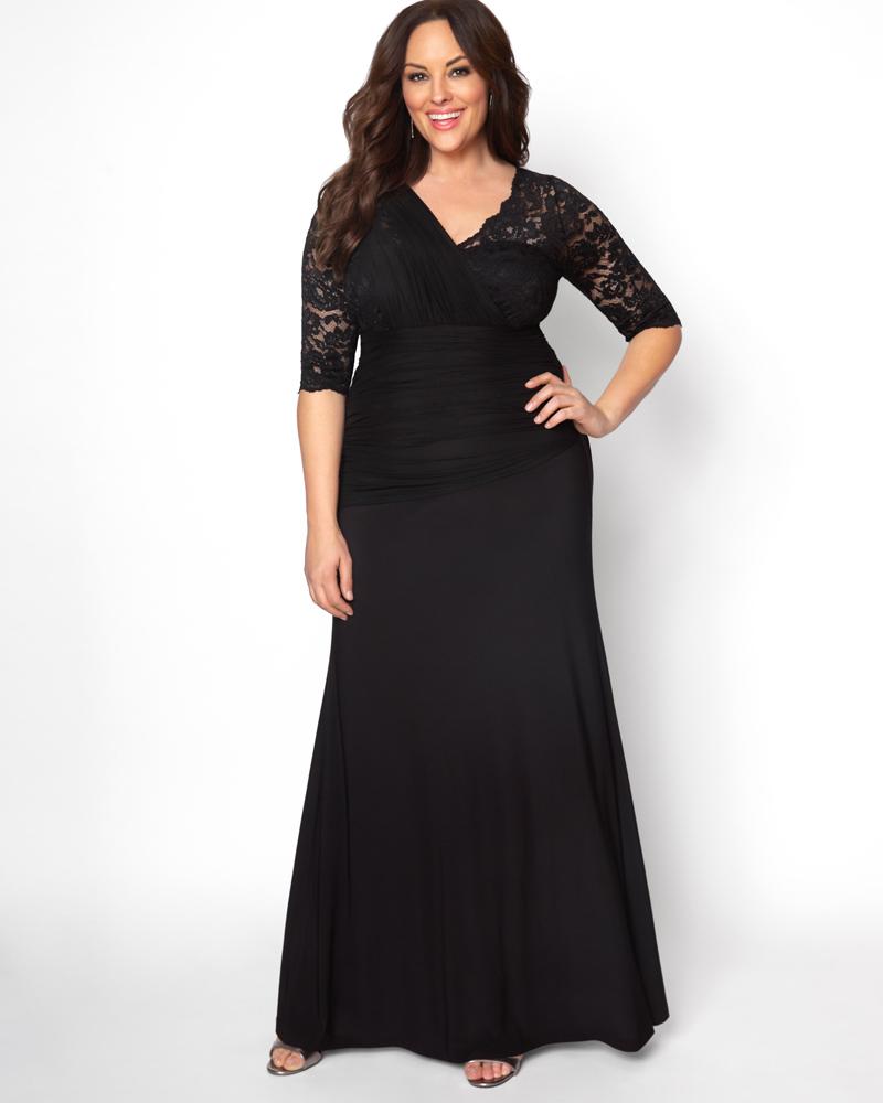 1930s Plus Size Dresses | Art Deco Plus Size Dresses Kiyonna Womens Plus Size Soiree Evening Gown $189.00 AT vintagedancer.com