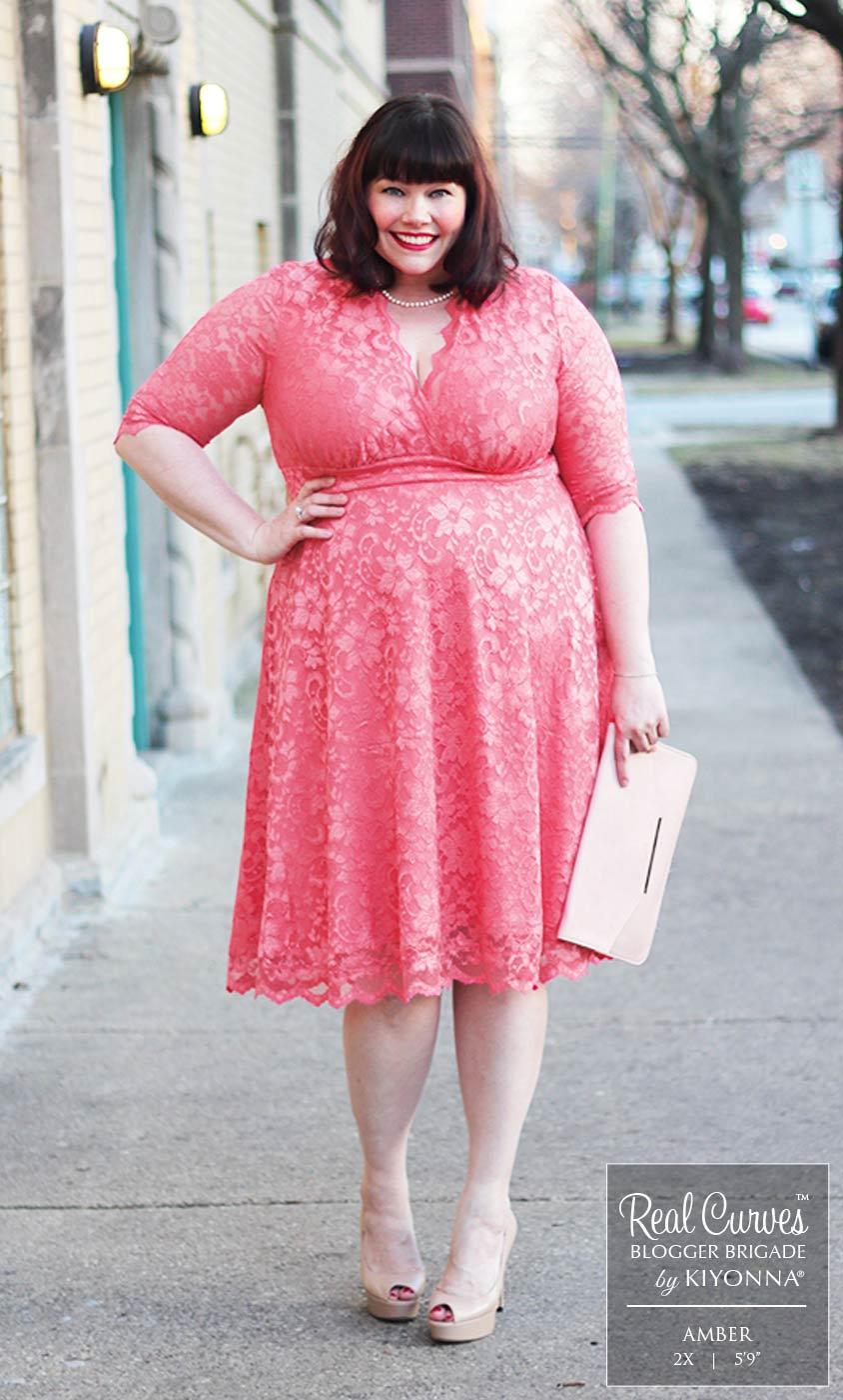 Pink Lace Dress Plus Size