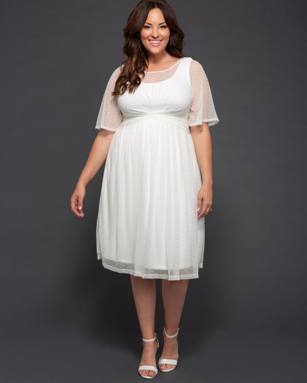 efb222f5e06b9 Plus Size Flutter Sleeve Wedding Dress | Dot Mesh Dress