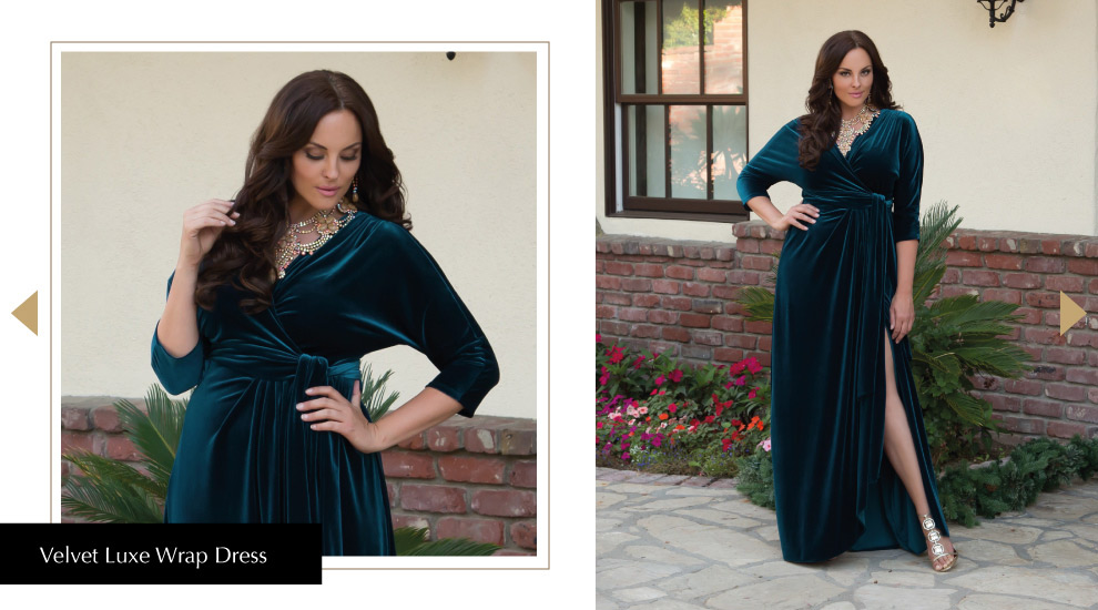 Glamorous Holiday Wrap Dresses in Teal