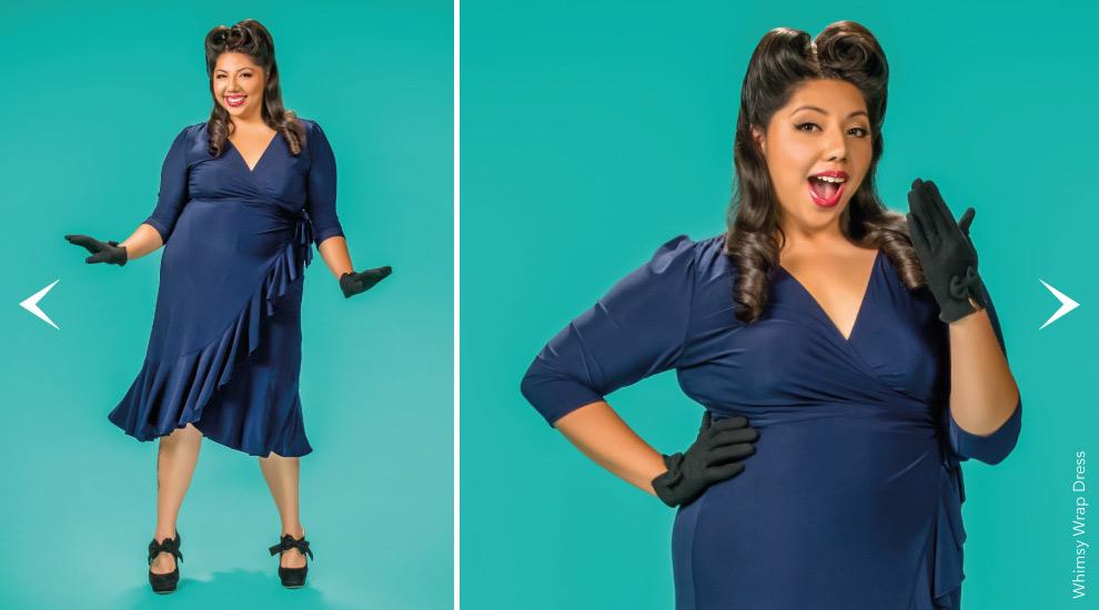 Plus Size Wrap Dresses in blue