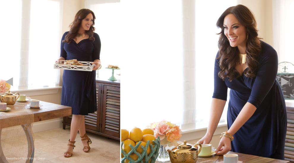 Pretty Plus Size Wrap Dresses in Navy