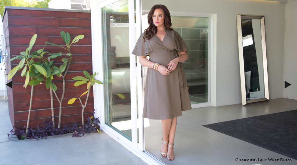 Plus Size Cocktail Dress in brown