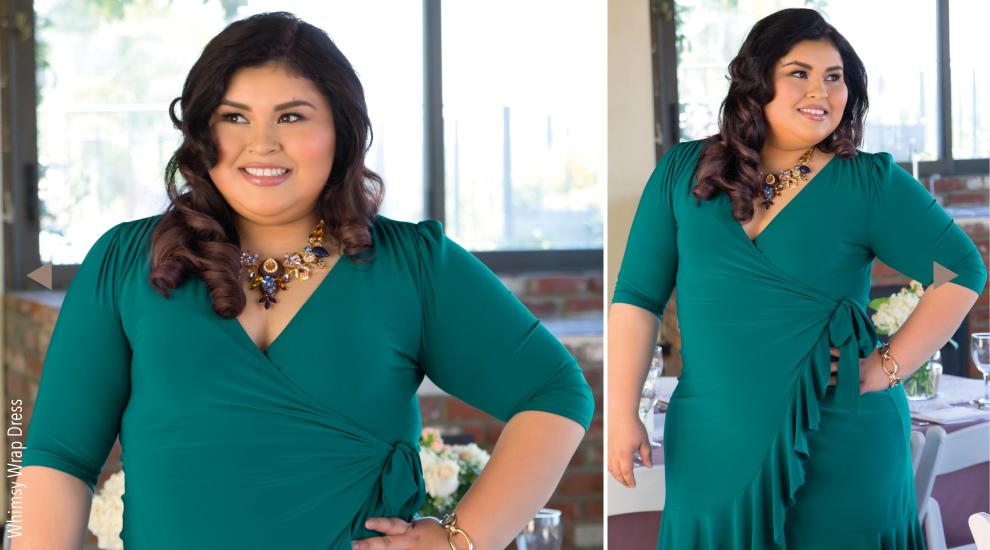 Plus Size wrap Dress in Green