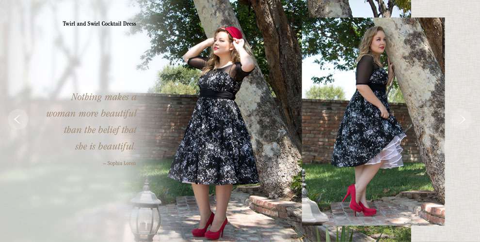 Vintage Twirl and Swirl Plus Size Dress